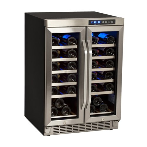 EdgeStar CWR361FD 36 Bottle Built-In Dual Zone French Door Wine Cooler